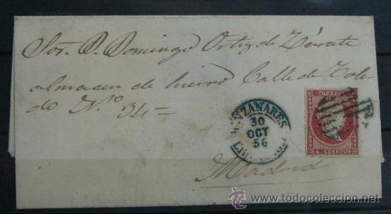 ESPAÑA (1856) CARTA CIRCULADA DE MANZANARES A MADRID CON MATASELLOS AZUL (Sellos - España - Isabel II de 1.850 a 1.869 - Cartas)