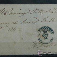 Sellos: ESPAÑA (1856) CARTA CIRCULADA DE MANZANARES A MADRID CON MATASELLOS AZUL. Lote 26428620
