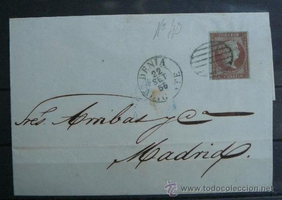 ESPAÑA (1855) CARTA CIRCULADA DE DENIA (ALICANTE) A MADRID CON MATASELLOS DE COLOR AZUL. RARA (Sellos - España - Isabel II de 1.850 a 1.869 - Cartas)
