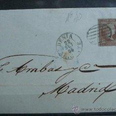 Sellos: ESPAÑA (1855) CARTA CIRCULADA DE DENIA (ALICANTE) A MADRID CON MATASELLOS DE COLOR AZUL. RARA. Lote 26428619
