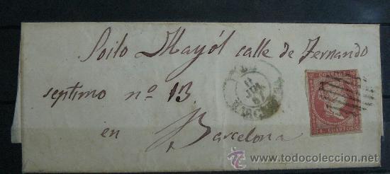 ESPAÑA (1857) CARTA POSTAL CIRCULADA DE BARCELONA CON MATASELLOS VERDE Y NEGRO (Sellos - España - Isabel II de 1.850 a 1.869 - Cartas)