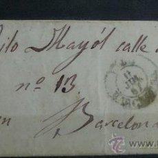 Sellos: ESPAÑA (1857) CARTA POSTAL CIRCULADA DE BARCELONA CON MATASELLOS VERDE Y NEGRO. Lote 26428617