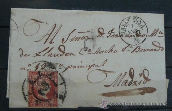 ESPAÑA (CAT. 40) CARTA POSTAL CIRCULADA DE BARCELONA A MADRID CON MATASELLOS DE RUEDA DE CARRETA (Sellos - España - Isabel II de 1.850 a 1.869 - Cartas)
