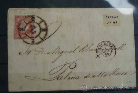 ESPAÑA (1859) CARTA CIRCULADA DE BARCELONA A PALMA DE MALLORCA CON MATASELLOS NEGRO (Sellos - España - Isabel II de 1.850 a 1.869 - Cartas)