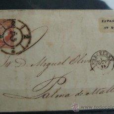 Sellos: ESPAÑA (1859) CARTA CIRCULADA DE BARCELONA A PALMA DE MALLORCA CON MATASELLOS NEGRO. Lote 26447145