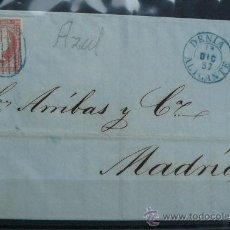 Sellos: ESPAÑA (1857) CARTA CIRCULADA DE DENIA (ALICANTE) A MADRID CON MATASELLOS DE COLOR AZUL. RARA. Lote 26447150