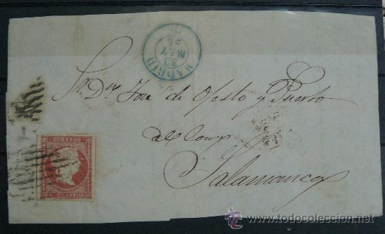 ESPAÑA (1856) FRONTAL CARTA MADRID A SALAMANCA CON MATASELLOS AZUL (Sellos - España - Isabel II de 1.850 a 1.869 - Cartas)