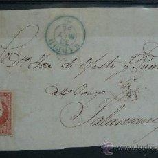 Sellos: ESPAÑA (1856) FRONTAL CARTA MADRID A SALAMANCA CON MATASELLOS AZUL. Lote 26447153