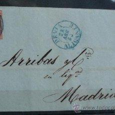 Sellos: ESPAÑA (1856) CARTA CIRCULADA DE DENIA (ALICANTE) A MADRID CON MATASELLOS DE COLOR AZUL. RARA. Lote 26498050