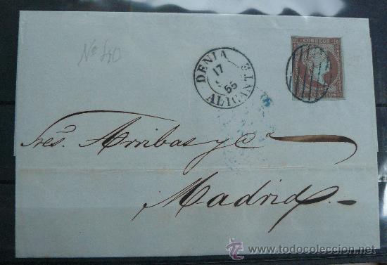 ESPAÑA (1856) CARTA CIRCULADA DE DENIA (ALICANTE) A MADRID CON MATASELLOS DE COLOR AZUL. RARA (Sellos - España - Isabel II de 1.850 a 1.869 - Cartas)