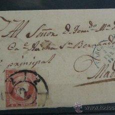 Sellos: ESPAÑA (1859) CARTA POSTAL CIRCULADA DE BARCELONA A MADRID CON MATASELLOS DE RUEDA DE CARRETA. Lote 26475569