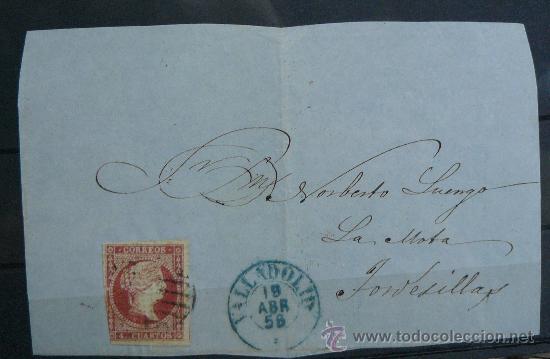 ESPAÑA (1856) FRONTAL CARTA CIRCULADA DE VALLADOLID A TORDESILLAS CON MATASELLOS AZUL (Sellos - España - Isabel II de 1.850 a 1.869 - Cartas)