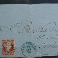 Sellos: ESPAÑA (1856) FRONTAL CARTA CIRCULADA DE VALLADOLID A TORDESILLAS CON MATASELLOS AZUL . Lote 26475567