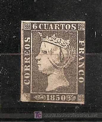 ESPAÑA.- Nº 1 A ISABEL II 6 CUARTOS DE 1850 NUEVO CON GOMA. (Sellos - España - Isabel II de 1.850 a 1.869 - Nuevos)