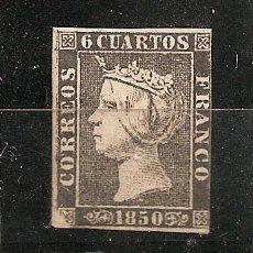Sellos: ESPAÑA.- Nº 1 A ISABEL II 6 CUARTOS DE 1850 NUEVO CON GOMA. . Lote 17324542