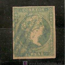 Sellos: ESPAÑA.- Nº 45 ISABEL II FILIGRANA LINEAS CRUZADAS - 1 REAL MATASELLO REJILLA AZUL. Lote 17342866