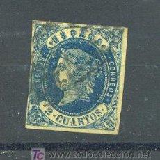 Sellos: EDIFIL 57. 2 CUARTOS ISABEL II. AÑO 1862. MATASELLADO.. Lote 25684232