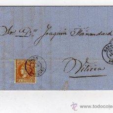 Sellos: CARTA CIRCULADA CON 4 CUARTOS NARANJA ISABEL II DE 1860 Nº 52, DE HARO A VITORIA, FECHADOR SALIDA . Lote 27573096