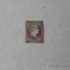 Francobolli: ESPAÑA,1855,ISABEL II,EDIFIL 42,PAPEL AZULADO,FILIGRANA LAZOS,MATASELLO FECHADOR NEGRO. Lote 21417754
