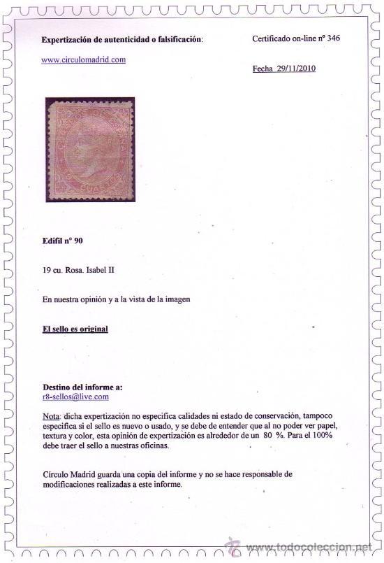 Sellos: 1867 Isabel II, Edifil nº 90 * * ?, OCASIÓN - Foto 2 - 23257338