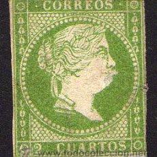 Stamps - ESPAÑA. 2 cu. verde, Isabel II. Certificado C.M.F. - 23323028