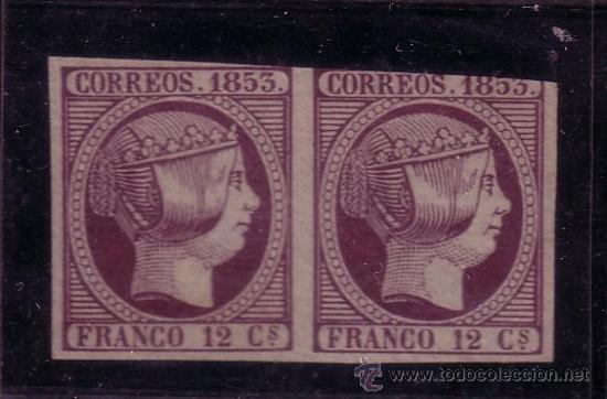 ESPAÑA.- SELLO Nº 18 FALSO FILATELICO EN PAREJA (Sellos - España - Isabel II de 1.850 a 1.869 - Nuevos)