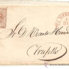 Sellos: CUBIERTA O FRONTAL DE CARTA CLÁSICA. CARTERÍA DE MÉRIDA. CARTA DIRIGIDA A TRUJILLO (CÁCERES). Lote 26268288