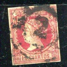 Sellos: EDIFIL 53. ISABEL II. 12 CUARTOS. MATASELLO, RUEDA DE CARRETA. Lote 26237031