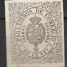 Sellos: 0303-SELLO CLASICO ISABEL II AÑO 1865 LIBROS DE COMERCIO,ADHESIVO.60 CENTIMOS.18,00€. Lote 26435542