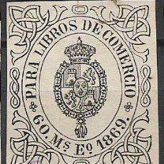 Sellos: 0305-SELLO CLASICO ISABEL II AÑO 1869 LIBROS DE COMERCIO,ADHESIVO.8,00€ 60 MILESIMAS DE ESCUDO. Lote 26435593