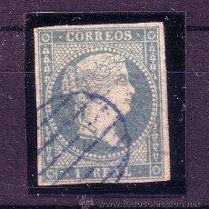 Sellos: ESPAÑA .- ISABEL II Nº 45 LINEAS CRUZADAS, MATASELLADO CON PARRILLA AZUL.. Lote 26479222