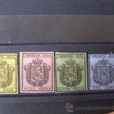 Sellos: ESPAÑA,1854,EDIFIL 28-31,ESCUDO DE ESPAÑA,SERIE COMPLETA,NUEVOS CON GOMA,SEÑAL FIJASELLOS Y SIN GOMA. Lote 26505773
