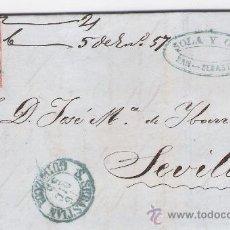 Sellos: CARTA DE SAN SEBASTIÁN A SEVILLA CON EL SELLO 48.DE 16 DICIEM. 1856. PARRILLA NEGRO Y FECHADOR VER-. Lote 26668493