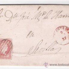 Sellos: CARTA DE MONESTERIO A SEVILLA.DE OCTUBRE DE 1857.CON SELLO 48,MATASELLO PARRILLA Y FECHADOR DE FU-. Lote 26668599