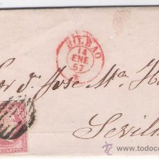 Sellos: CARTA DE BILBAO A SEVILLA.DE ENERO 1957.FRANQUEADO CON SELLO 48, MATASELLO PARRILLA Y FECHADOR ROJO.. Lote 26668664