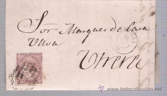 CARTA DE SEVILLA A UTRERA.DE OCTUBRE 1869. FRANQUEADO CON SELLO 98.PARRILLA Y FECHADOR NEGRO. (Sellos - España - Isabel II de 1.850 a 1.869 - Cartas)