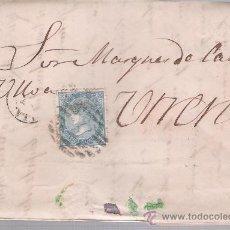 Sellos: CARTA DE SEVILLA A UTRERA,DE 4-MARZO DE 1867. FRANQUEADO CON SELLO 96,PARRILLA Y FECHADOR NEGRO.. Lote 26687122