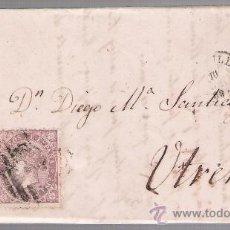 Sellos: CARTA DE SEVILLA A UTRERA.DE 10 DE ABRIL DE 1869. FRANQUEADO CON SELLO 98,MATASELLO PARRILLA Y DOBLE. Lote 26692290