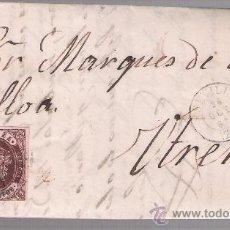 Sellos: CARTA DE SEVILLA A UTRERA. DE 25 DE OCTUBRE DE 1863. FRANQUEADO CON SELLO 58. Y FECHADOR NEGRO.. Lote 26692363