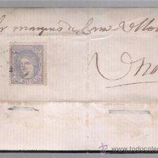 Sellos: CARTA DE SEVILLA A UTRERA. DE 24 DICIEMBRE 1870. FRANQUEADO CON SELLO 107.. Lote 26709941