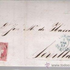 Sellos: CARTA DE LORCA A SEVILLA.DE 7 MARZO 1857. FRANQUEADO CON SELLO 48,MATASELLO PARRILLA Y FECHADOR -. Lote 26710243
