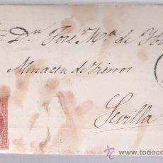Sellos: CARTA DE CÁCERES A SEVILLA. DE 20 AGOSTO 1857.FRANQUEADO CON SELLO 48,MATASELLO PARRILLA Y FECHA-. Lote 26712350