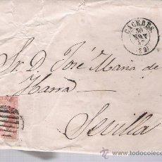 Sellos: CARTA DE CÁCERES A SEVILLA. DE 30 NOV. 1857.FRANQUEADO CON SELLO 48,MATASELLO PARRILLA Y FECHADOR. Lote 26713622