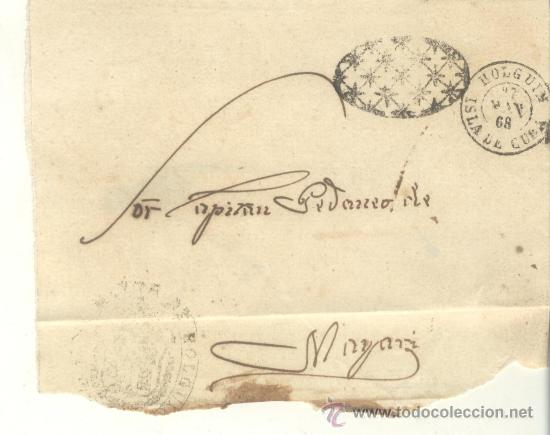 1868 ISABEL II CUBA PLICA CON FRANQUICIA DE HOLGUIN A MAYARI RRR (Sellos - España - Isabel II de 1.850 a 1.869 - Cartas)