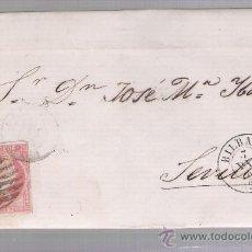 Sellos: CARTA DE BILBAO A SEVILLA.DE 7 DICIEM.1857.FRANQUEADO CON SELLO 48 MATASELLO PARRILLA NEGRO Y DOBLE. Lote 26803197
