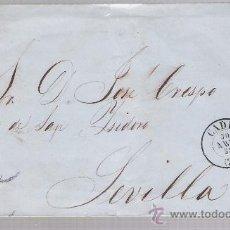 Sellos: CARTA DE CADIZ A SEVILLA. DE 30 ABRIL 1858. FRANQUEADO CON SELLO 48,MATASELLO PARRILLA Y FECHADOR. Lote 26817348