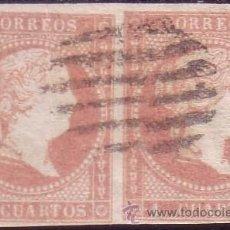 Sellos: ESPAÑA. (CAT.48 (2)). 4 CTOS. PAREJA. VARIEDAD UN SELLO *AUSENCIA LÍNEA Y ROTURA DE DOS MARCOS*.. Lote 27174609