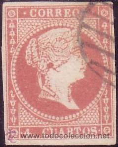 ESPAÑA. (CAT. 48). 4 CTOS. VARIEDAD MANCHA DE TINTA EN OREJA. LÍNEA ROTA DEL MARCO. MAGNÍFICO. (Sellos - España - Isabel II de 1.850 a 1.869 - Usados)