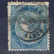 Sellos: 1867 ISABEL II 4 CUARTOS AZUL MATASELLO FECHADOR CADIZ. Lote 28050762