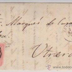 Sellos: CARTA DE SEVILLA A UTRERA DE 2 DICIEM.1864, FRANQUEADO CON SELLO 64 Y MATASELLO RUEDA DE CARRETA.. Lote 28782382